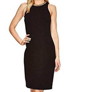 Calvin Klein  Black Sheath Chain Trim  Dress